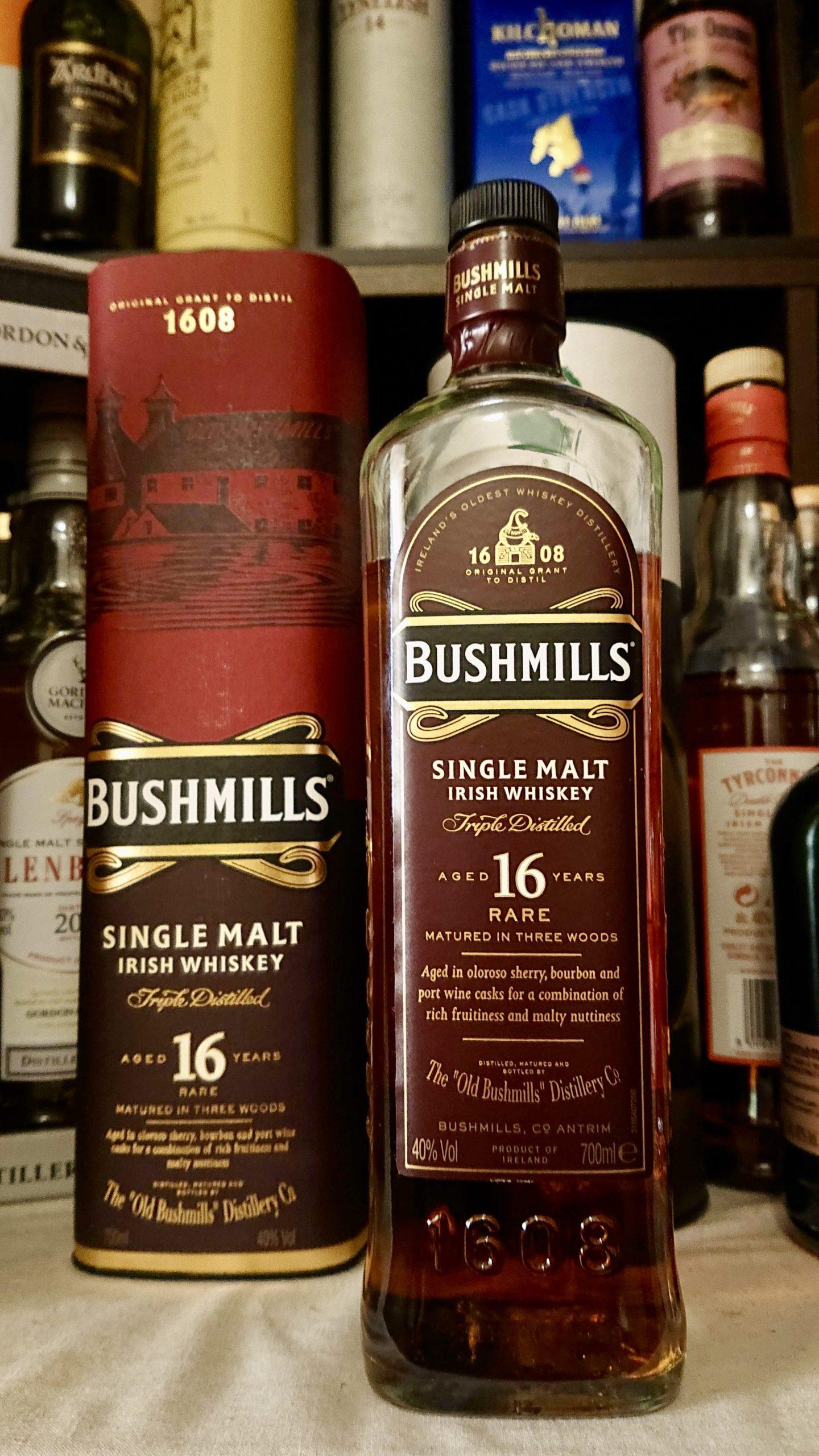 ブッシュミルズ16年のテイスティング&レヴュー・ポートワインカスクにて後熟。凝縮された果実感に酔いしれる長熟ブッシュミルズ!